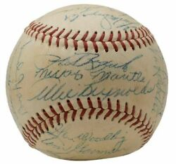 1953 Yankees Team Signed Baseball Mantle Rizzuto Ford +22 W/case Psa