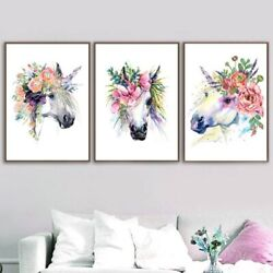 Cartoon Watercolor Horse Flower Art Canvas Painting Nordic Posters And Prints