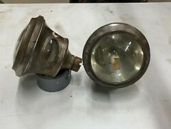 Pair Vintage Teens 1920s Cadillac Cowl Fender Brass Lights Gray And Davis Small 6