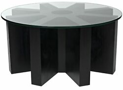 35 W Gear Coffee Table Glass Top Solid Mahogany Wood Modern Rubbed Black
