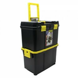 18 Double Mobile Tool Box Pull Along Trolley On Wheels Parts Organiser New