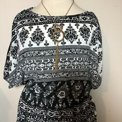 Womens Elastic Waist Dress Bohemian Small Black Cold Shoulder short Sleeve By By