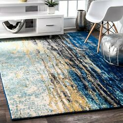 Nuloom Waterfall Vintage Abstract Accent Rug 2and039 X 3and039 Blue