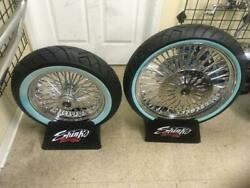 A Set Chrome Fat Spoke Wheels And Tires Package For 2000 Fl 16 Front And 16 Rear
