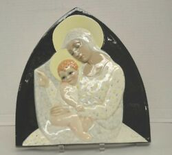 Essevi Pottery Italy Plaque Of Madonna And Child