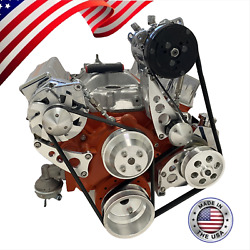 Small Block Chevy Serpentine Pulley Conversion Kit A/c Alt Ps Midmount Sbc Lwp 6