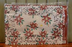 Party House Paper Doilies 5 Vintage Christmas Holiday Poinsettia Scrap-booking
