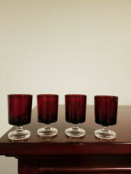 Vintage France Ruby Red Shot Glass W/clear Footed Stem Set Of Four