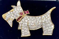 Vintage 18k Gold 2ctw Vs Diamonds And 0.10ctw Ruby Scottish Terrier Brooch