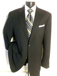 Canali Proposta Black Twill 2 Bnt Suit Size 46l Pants 40/32 Super 120and039s