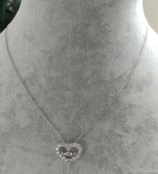 Estate Jewelry Mom Cz Heart Pendant And Necklace .925 Sterling Silver 16