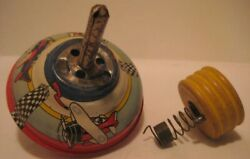 Old Tin Wind Up Whistling Spinning Top W/ Airplanes And Control Tower