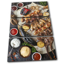 Chicken Meat Bbq Barbecue Food Kitchen Treble Canvas Wall Art Picture Print