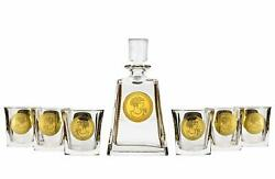 Bohemia Crystal 7-pc Whisky Set 28 Oz Gold Square Crystal Decanter And Glasses