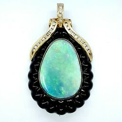 Incredible 14k Yellow Gold Opal And Diamond Pendant W/ Pearl Enhancer Clasp Wow