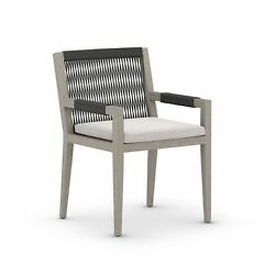 23 W Set Of 2 Outdoor Dining Chair Modern 100 Olefin Weathered Teak Wood Frame
