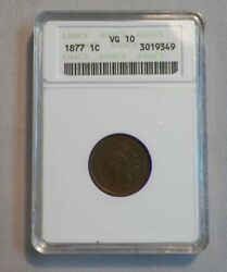 1877 Indian Head Penny Cent Anacs Graded Vg 10 Key-date