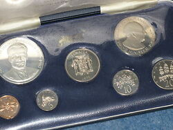 1971 Jamaica Seven Coin Proof Set With Sterling Silver 5.00 Franklin Mint B7155