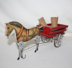 Whimsical Antique 1908 - 1928 Gibbs Mfg Andldquopacing Bobandrdquo Wood And Metal Horse Pull Toy