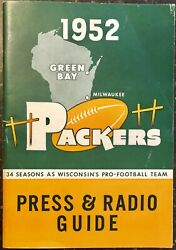 1952 Green Bay Packers Original Press And Radio Guide Program Vintage 72 Pages