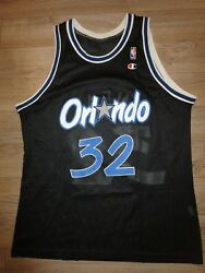 Shaquille Oand039neal 32 Orlando Magic Black Champion Nba Jersey 48 Rookie