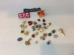 Lot Of 38 Vintage Boy Scout Cub Scouts Pins And Patches