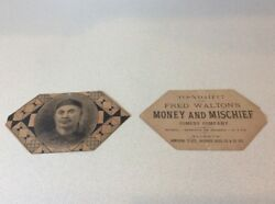 2 Small Antique Fred Walton's Money And Mischief Comedy Co Advertising Posters
