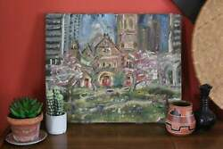 Vintage Mission Church Oil Painting Unframed Post Impressionist Art Painting