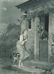 ANTIQUE FARM WOMAN BARE FEET WHITE DOVE COTTAGE BOSTON TERRIER DOG COTTAGE PRINT