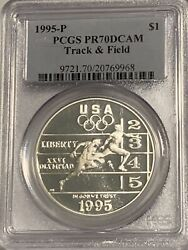 1995-p Pcgs Pr70 Olympics Track And Field Commemorative Proof Silver Dollar Coin