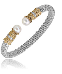 Alwand Vahan Pearl Cuff Bracelet 14k Gold And Ss 0.12ctw Style 20833dwp
