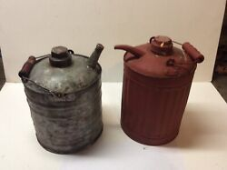 Vintage Collectible Pair Of Gas And Kerosene Cans- Oil-gas Memorabilia