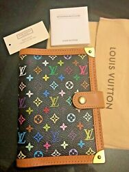NEW WITH TAGS LV Auth Louis Vuitton Monogram Multicolor Agenda Black  notebook
