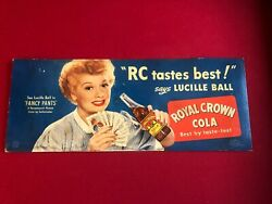 1950 Lucille Ball Rc Cola Cardboard Advertising Sign Rare Vintage