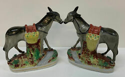 Pair Staffordshire Pottery Mules Antique Animals Figures Superb Rare Donkey's