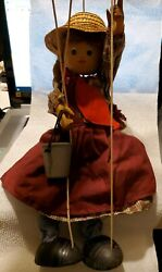 Vintage Wooden Marionette Puppet Wood Farm Girl 15 Doll Rope Hair