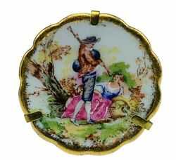 Limoges France art deco vtg plate miniature French bag pipes serenade couple mcm $24.95
