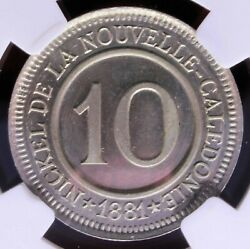 New Caledonia - 1881 Societe Le Nickel 10c Essai In Ngc Sp 65 Rrrr