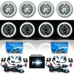 5-3/4 White Smd Led Halo Crystal Clear H4 Headlight And 6k Hid Bulb Set Of 4