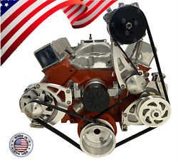 Small Block Chevy Serpentine Pulley Conversion Kit Ac Alt Ps Electric Sbc Ewp 1