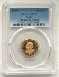 Niger 1960 Diori Hamani 10 Fr Pcgs Sp69 Gold Plated Pattern Coinvery Rare