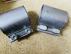Two Each Bmw/dinan Rear/center Muffler Clamps New 18307560780 Stainless 2.75