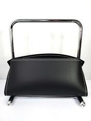 Mcm Black Faux Leather Nickel Magazine Book Holder Rack Caddy Eames Style 15