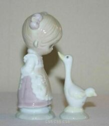 Vintage Precious Moments Girl And Goose Salt And Pepper Shakers Rare Backward Eye