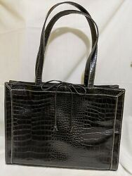 Designer LIZ CLAIBORNE Briefcase Laptop Case Book Bag Black Faux Crocodile