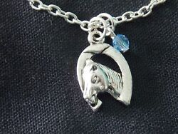 Horse Head And Horse Shoe Charm Necklace Costume Jewelry Never Used