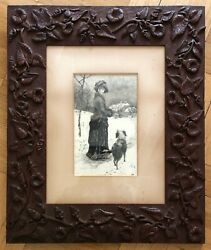 Gorgeous, Carved Floral Victorian Frame / Henry Hutt / Pen And Ink Drawing.19th C