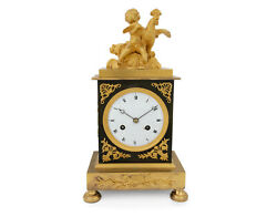French Empire Ormolu Clock Pendulette Putto With Rooster Signed Rt Cary