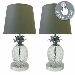Pair Of Chrome Touch Table Light Bedside Lamps Pineapple Design Grey Shades