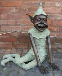 Large Bronze Seated Goblin - Pixie Elf - Garden Or Indoor